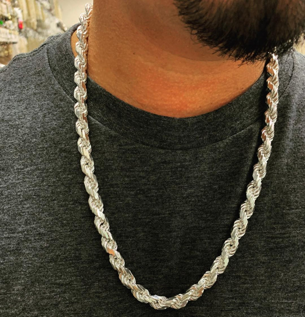 9mm 925 silver rope chain