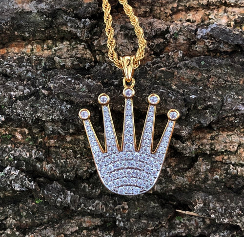 lab diamond rolex crown pendant and chain set