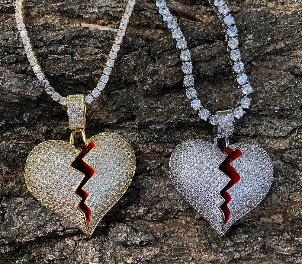 heartbreak lab diamond pendant and tennis chain set
