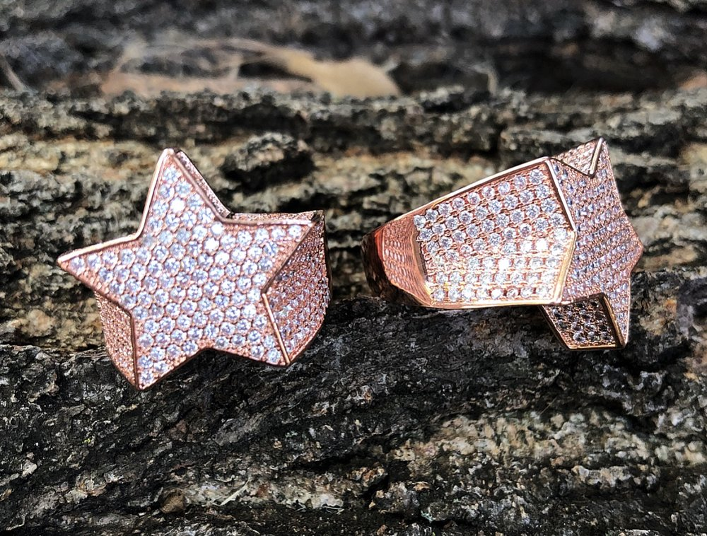 rose gold flooded star ring