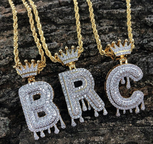 crown gold finish drip bubble initials ( with 20in rope chain)