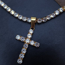 Load image into Gallery viewer, 3mm yellow gold finish tennis chain & cross set