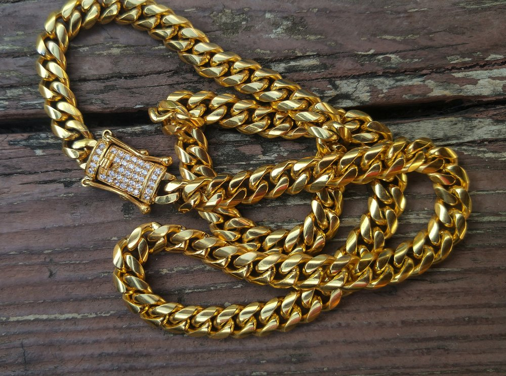 8mm lab diamond clasp cuban link