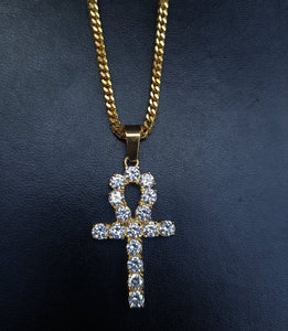 4mm lab diamond ankh & chain set