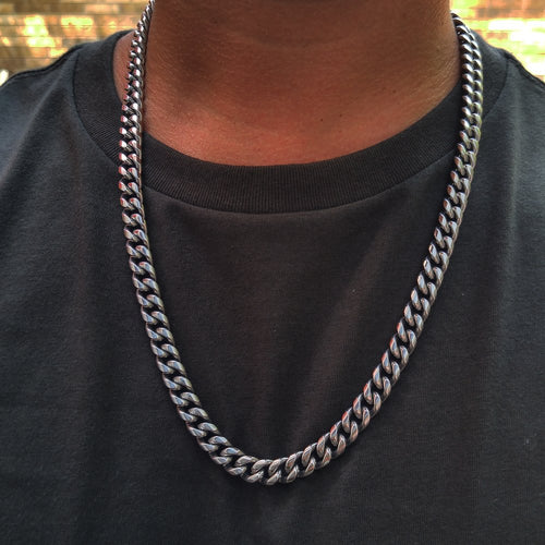 9mm 24inch white gold finish cuban link with white box clasp