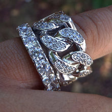 Load image into Gallery viewer, white gold finish cuban link lab diamond ring