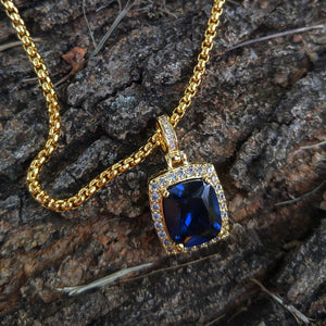 yellow gold finish blue sapphire ruby