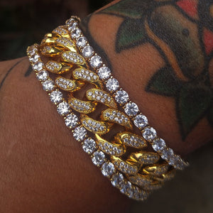 yellow gold finish 12mm cuban link & tennis bracelet sets