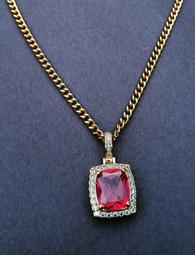 mini red simulated ruby chain & pendant