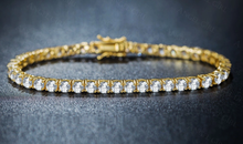 Load image into Gallery viewer, 4mm yellow gold finish tennis bracelet