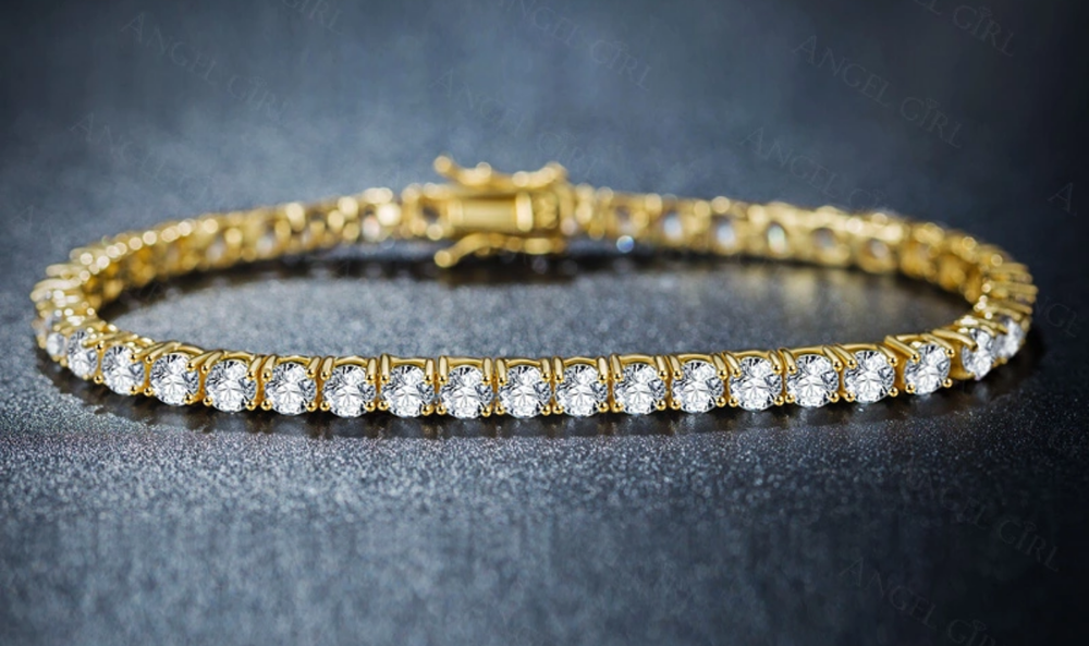 4mm yellow gold finish tennis bracelet