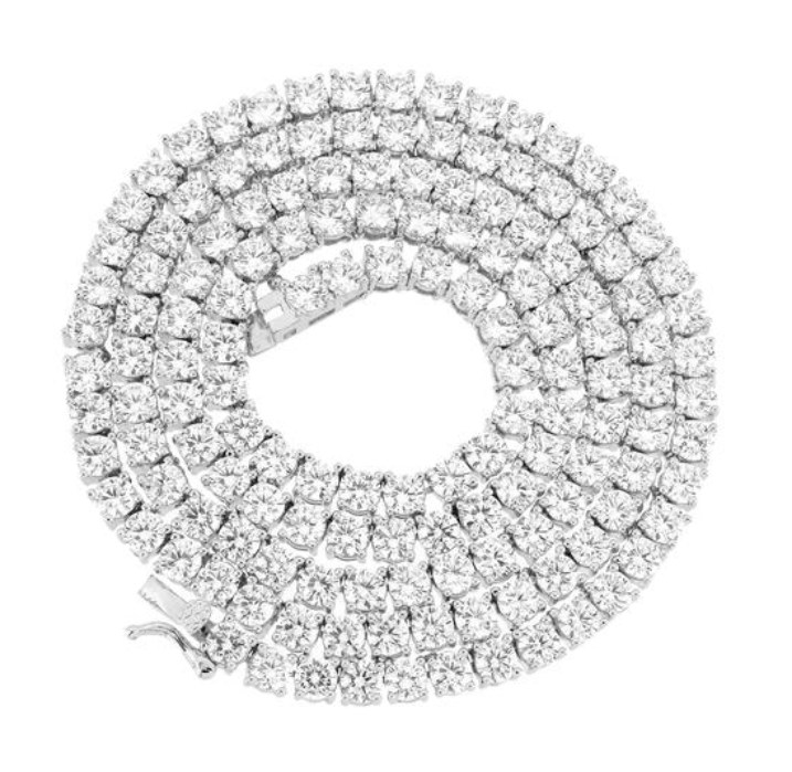 4mm white gold finish tennis chain - lab diamonds