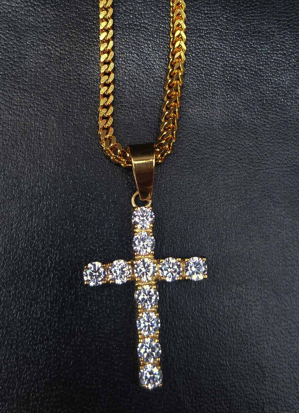 4mm  diamond cross pendant & chain set