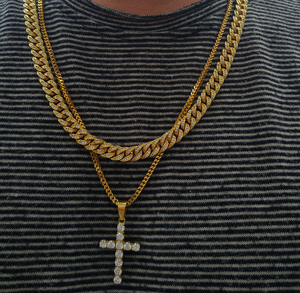 8mm diamond cuban link & 4mm diamond cross