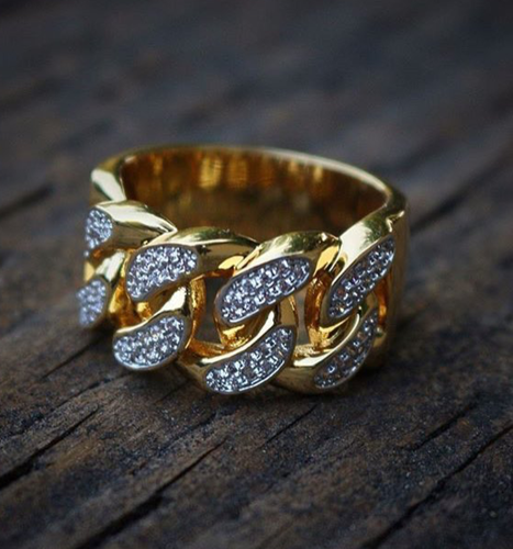 cuban link yellow gold finish lab diamond ring