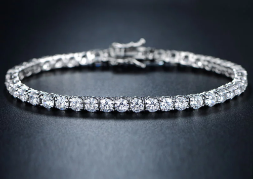 4mmwhite gold finish round cut lab diamond tennis bracelet