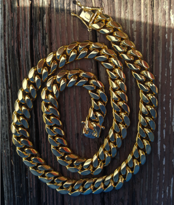 14mm solid cuban link yellow gold