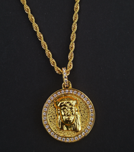 Load image into Gallery viewer, double sided jesus & mary pendant  with chain