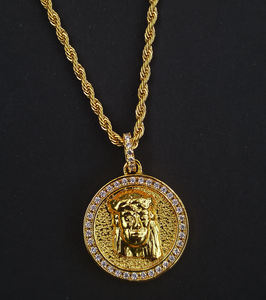 double sided jesus & mary pendant  with chain