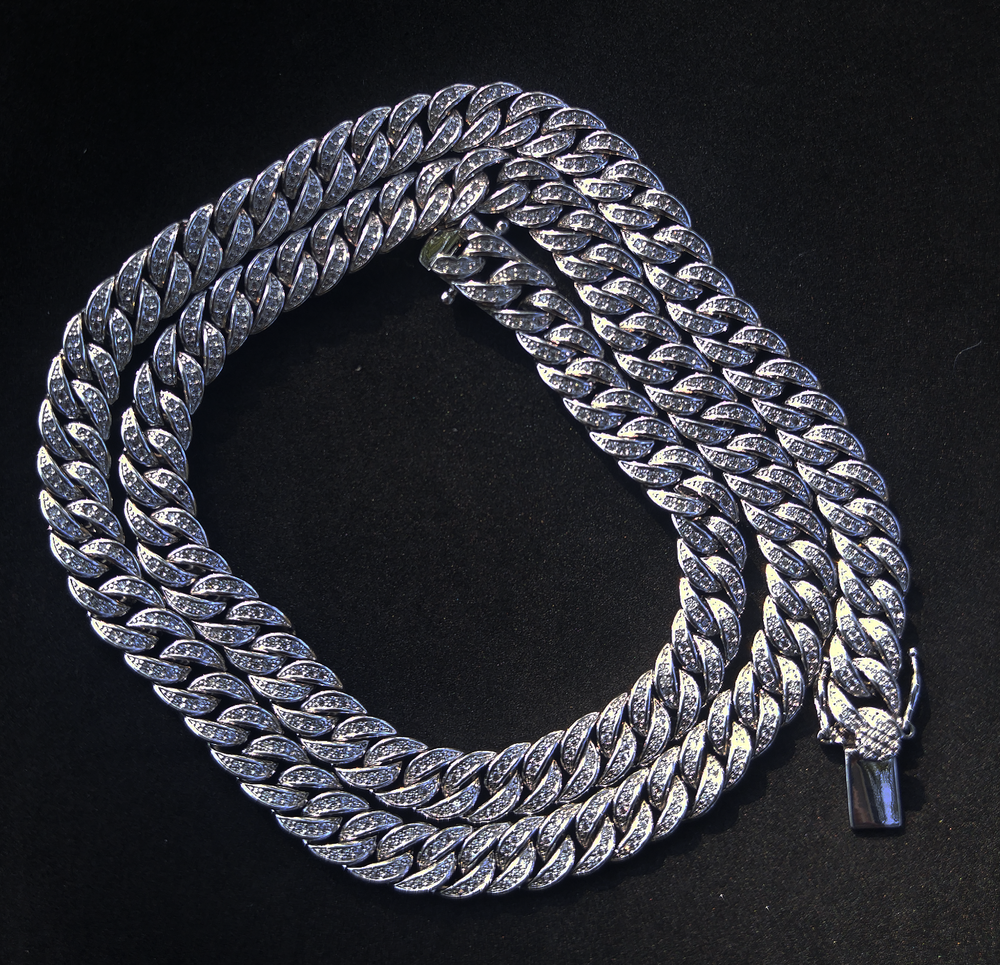 8mm white gold finish lab diamond cuban link 24inch