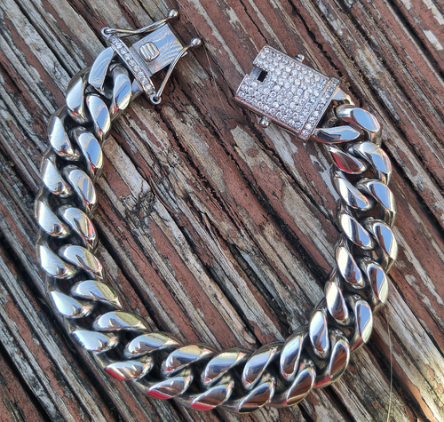 14mm white gold finish lab diamond clasp cuban link bracelet