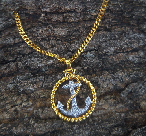 rope anchor pendant with lab diamonds & chain
