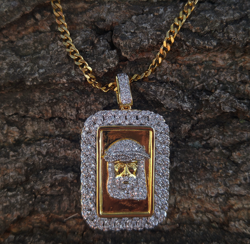 cuban link lab diamond jesus dog tag