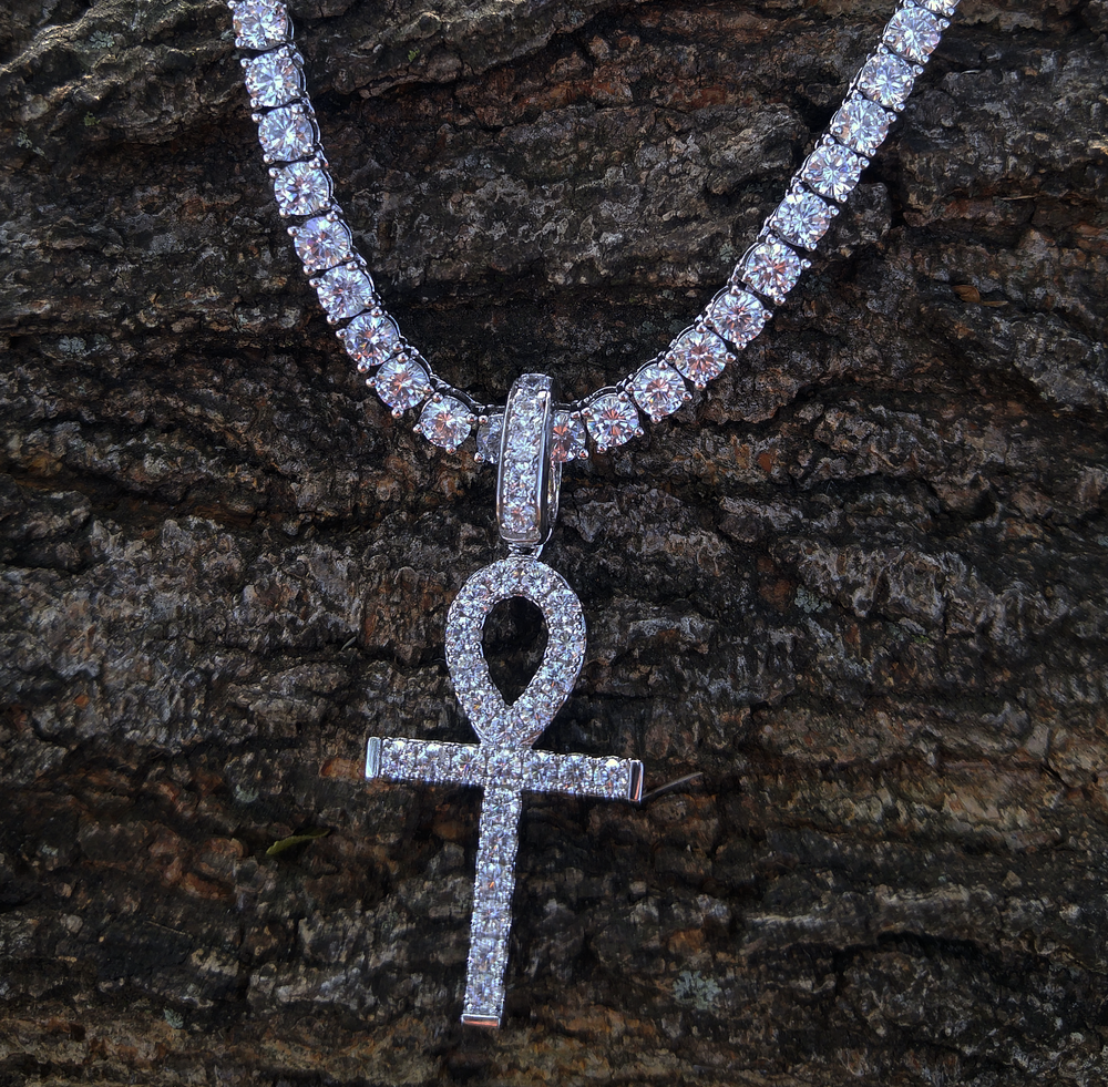 white gold finish alpha ankh & 4mm tennis chain