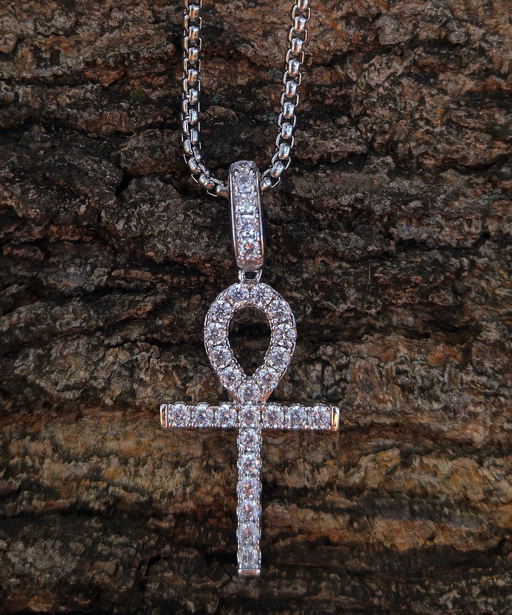 white gold finish alpha ankh & chain set