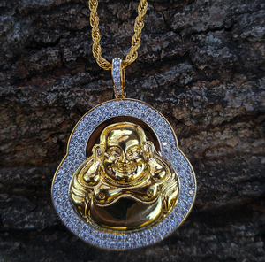 double row LAB diamond buddha & chain