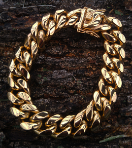 14mm solid triple lock clasp cuban bracelet 7.5in