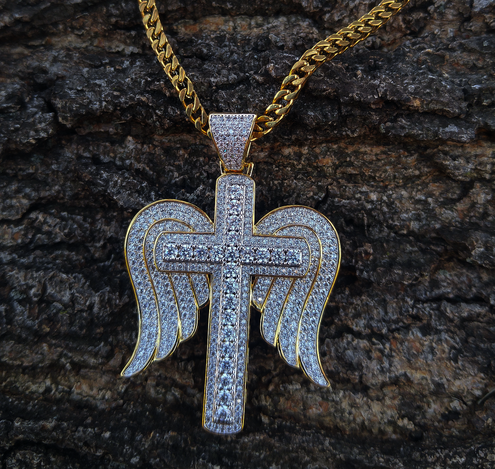 angel wing and cross lab diamond set
