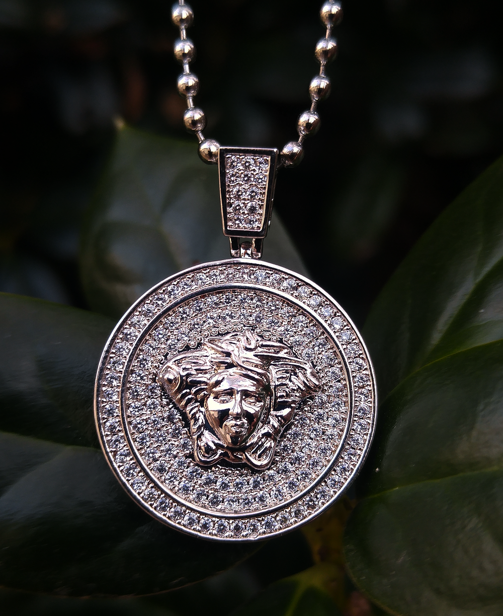 white gold finish medusa pendant and chain set