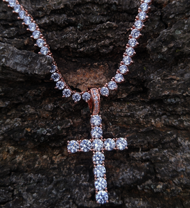 rose gold cross & tennis necklace set - lab diamonds