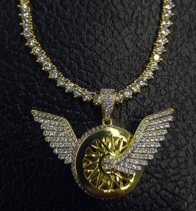 wheels and wings pendant with tennis chain