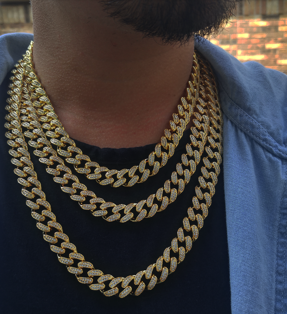 12mm lab diamond cuban link 18,20, and 24in