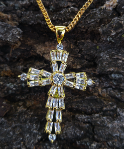 baguette cross and chain
