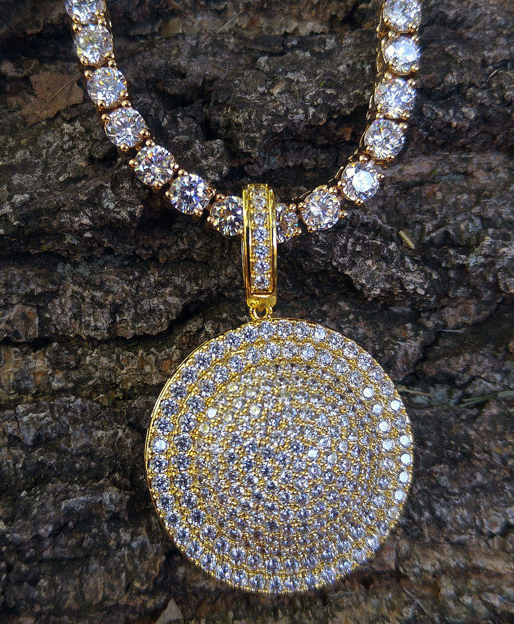 gold  tennis chain and lab diamond halo