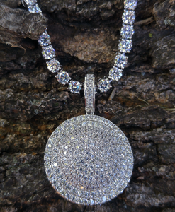 white gold tennis chain and lab diamond halo