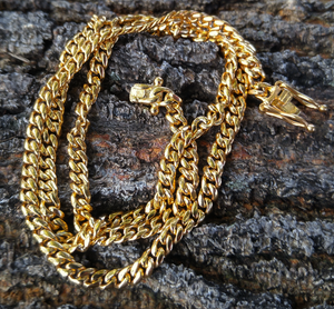 4mm triple lock clasp cuban link - 2 sizes