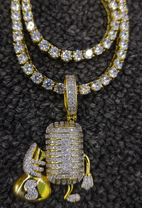 money MIC pendant and tennis chain set