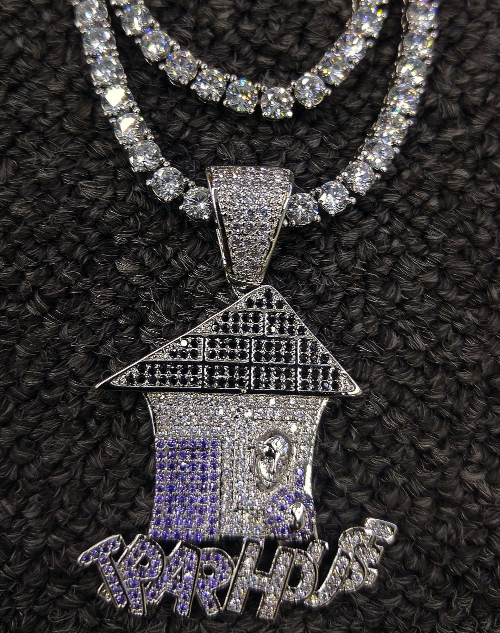 trap house pendant in white gold finish & tennis chain