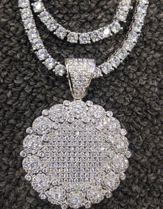 white gold large cluster medallion & tennis chain