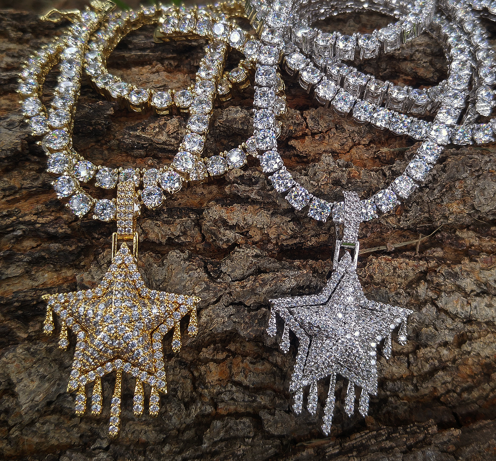 4mm tennis chain & dripping star pendant