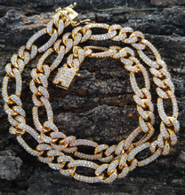 Load image into Gallery viewer, 10mm flooded figaro chain / lab diamonds (gold & silver)