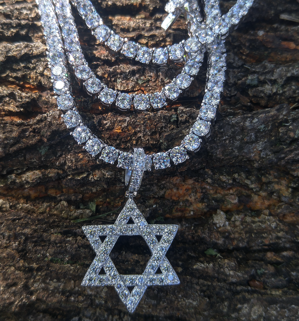 4mm tennis chain with star of david