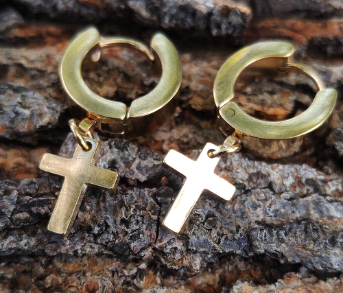 ss steel 14k gold plated hoop CROSS earrings