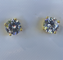 Load image into Gallery viewer, 6mm lab diamond 925 silver solitaire earrings 3 colors