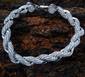 10mm white gold flooded rope bracelet (8inch)