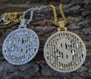 baguette money sign medallion with 20 inch rope chain